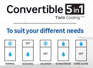 Samsung convertible fridge with twin cooling