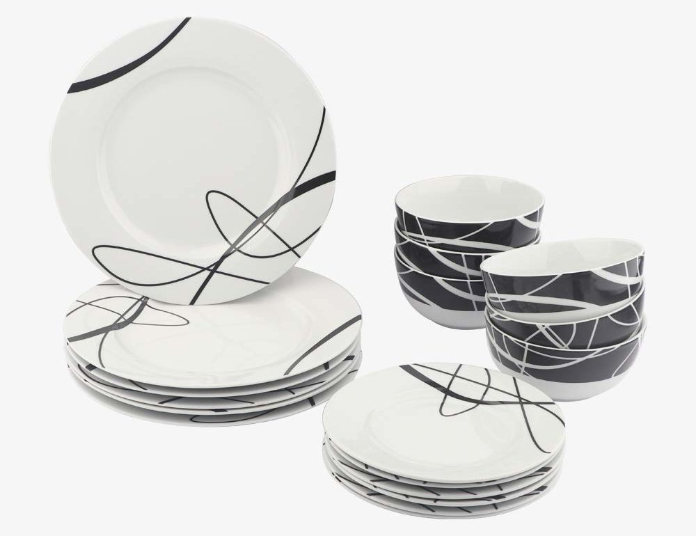 AmazonBasics 18 Piece Dinnerware - Cursive - Best Dinner Set for 6 People