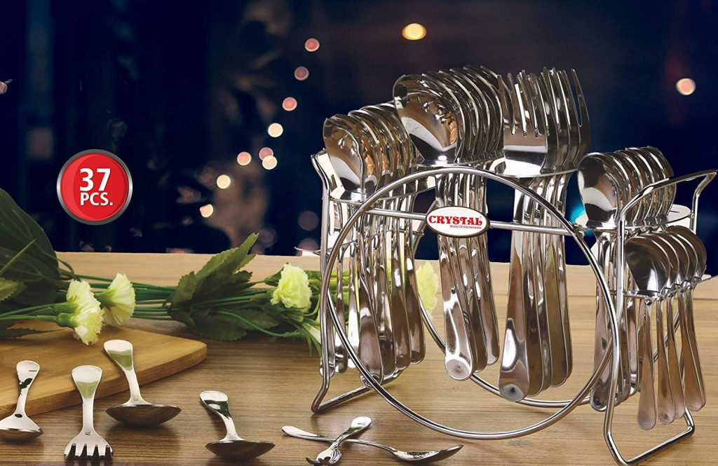 Crystal Cutlery Set - with spoons, forks & butter knife